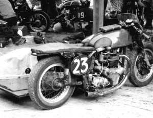 A motorcycle with the number 23