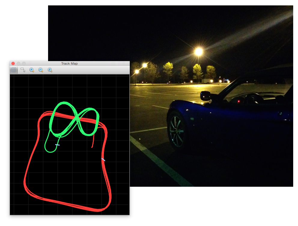 Car in the parking lot with screenshot of the GPS trace