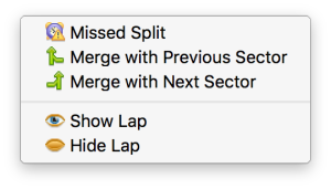 The context menu for a split